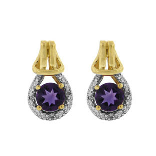 Yellow Gold Diamond Purple Amethyst Gemstone Love Knot Earrings