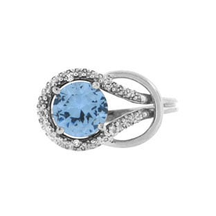 Diamond White Gold Blue Aquamarine Birthstone Love Knot Ring