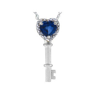 Diamond Blue Sapphire Heart Shaped White Gold Key Pendant