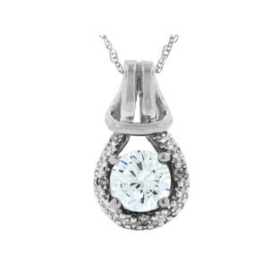 Diamond White Gold White Topaz Birthstone Love Knot Pendant