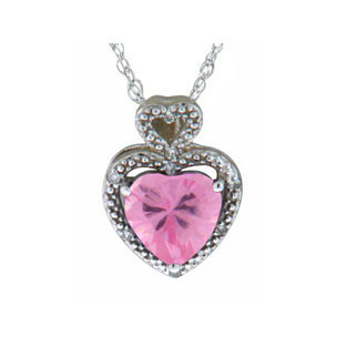 Diamond Pink Topaz Gemstone Heart Shaped White Gold Pendant