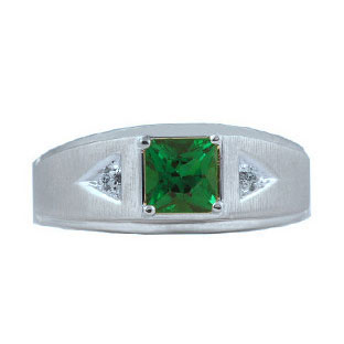 and white gold emerald mens princess cut ring