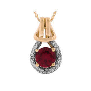 Diamond Rose Gold Red Ruby Birthstone Love Knot Pendant