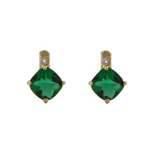 Yellow Gold Diamond and Cushion Cut Emerald Earrings