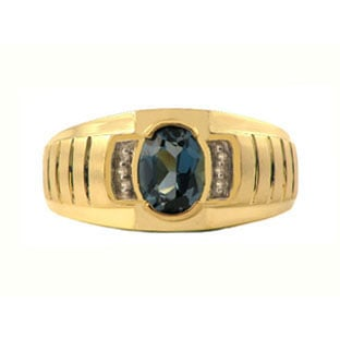 Diamond & London Blue Topaz Yellow Gold Ring For Men