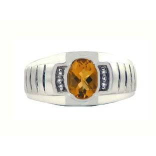 Diamond & Citrine White Gold Men's Ring