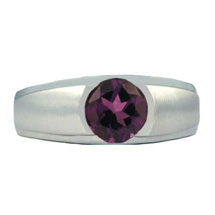 Men's White Gold Rings - Round Cut Amethyst White Gold Ring