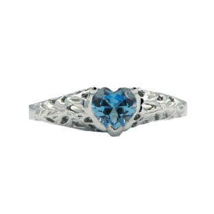 Baby's Birthstone Rings - Baby's White Gold Blue Topaz Ring