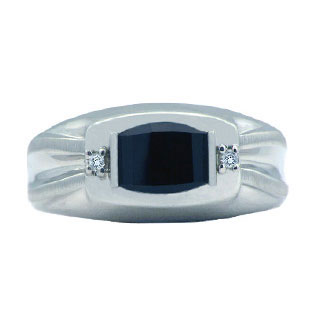 White Gold Diamond and Barrel-Cut Black Onyx Ring For Men