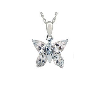 Aquamarine Diamond Gemstone Butterfly Pendant In White Gold