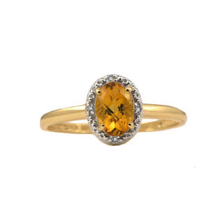 Diamond and Oval Citrine Yellow Gold Ring