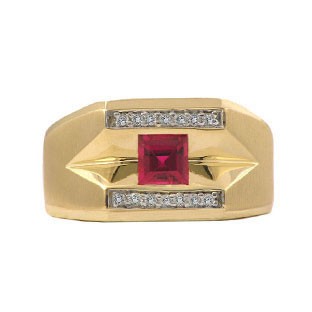Yellow Gold and Diamond Men's Ruby Ring