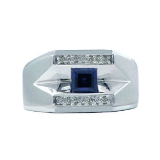 White Gold and Diamond Men's Sapphire Ring