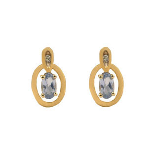 Yellow Gold Oval-Cut Aquamarine and Diamond Earrings