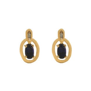 Yellow Gold Oval-Cut Sapphire and Diamond Earrings