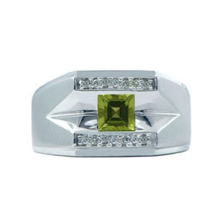 White Gold and Diamond Men's Peridot Ring