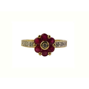 Ruby Gemstone Diamond Ring, 10K Gold Jewelry