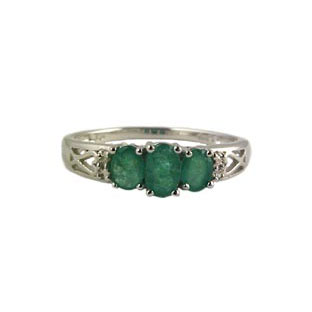 White Gold Emerald Rings and Diamonds