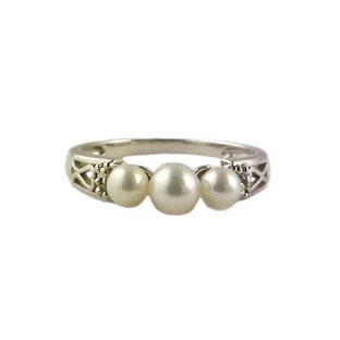 Pearl Ring and Diamonds, 10K White Gold Jewelry