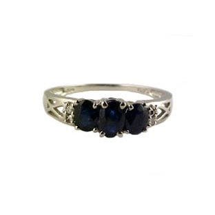 Sapphire Birthstone White Gold and Diamond Ring