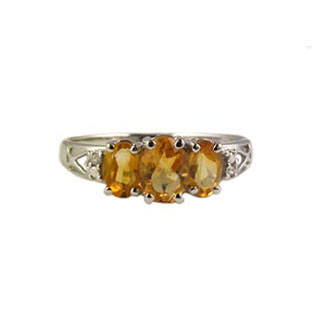 Citrine and Diamond Rings, 10K White Gold Jewelry
