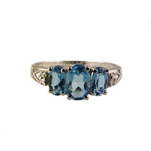 Blue Topaz Ring and Diamonds, 10K White Gold Jewelry