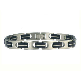 Mens Rubber Bracelet with Stainless Steel
