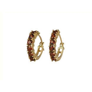 Earrings: Garnet Stone Earrings, 10K Gold Hoop