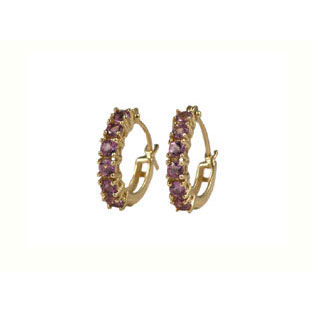 Amethyst Stone Earrings, 10K Gold Hoop