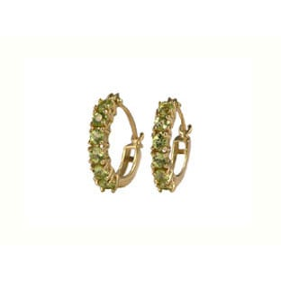 Earrings: Peridot Stone Earrings, 10K Gold Hoop