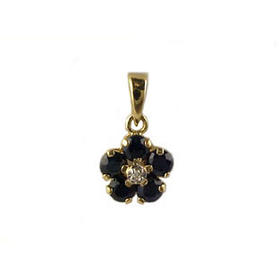 Sapphire Diamond Pendants, 14K Gold Jewelry