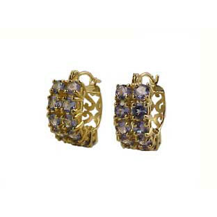 Earrings: Tanzanite Birthstone Earrings, 14K Gold Hoop