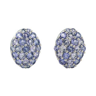 Tanzanite Cluster White Gold Button Earrings