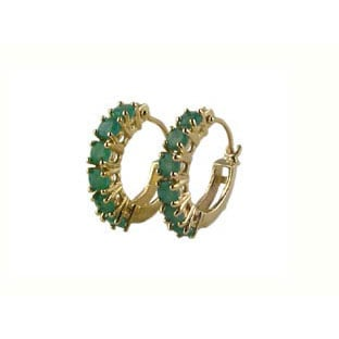 Earrings: 14K Gold Emerald Hoop Earrings