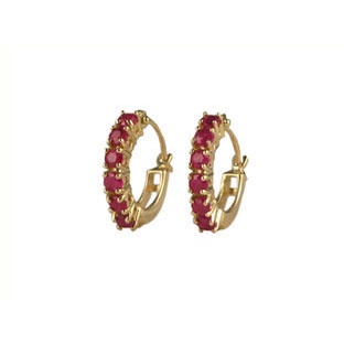 Ruby Hoop Earrings, 10K Gold Jewelry
