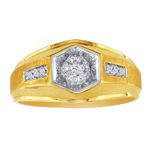 Mens Promise Ring - Yellow Gold Diamond Promise Men's Ring