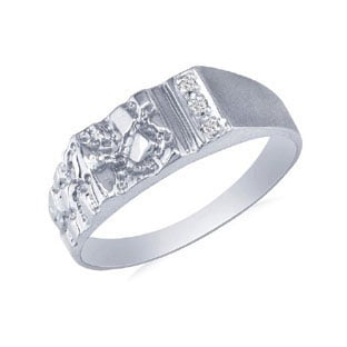 mens white gold promise nugget ring gemologica