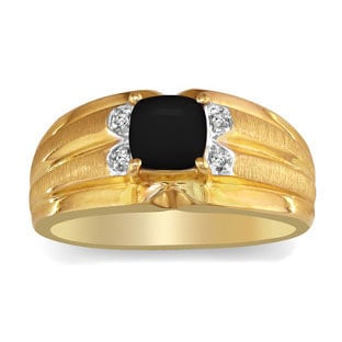 Men's Cushion-Cut Black Onyx Diamond Yellow Gold Ring