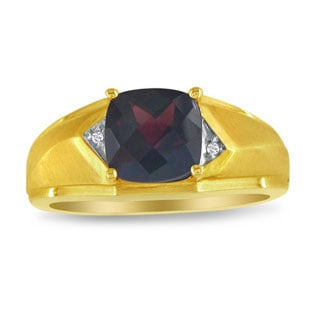 Yellow Gold Men's Diamond Cushion Cut Garnet Ring