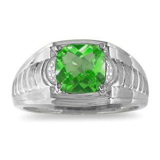 Peridot & Diamond Men's Cushion Cut Ring White Gold