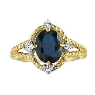 Oval Cut Sapphire Diamond Yellow Gold Braided Ring