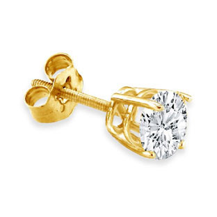 14K Yellow Gold Men's Diamond Stud Earrings 1/8 ct