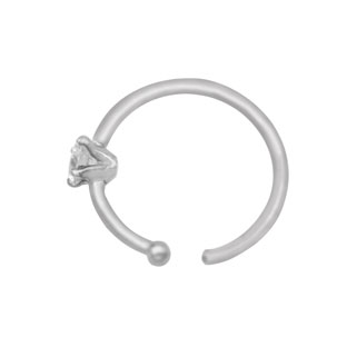 Nose Hoops - Tiny 1.25MM Diamond 20G Nose Hoop Ring In 14K White Gold