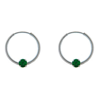 Children's Emerald 14K White Gold Hoop Earrings