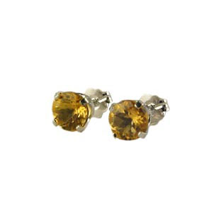 14K White Gold Citrine Earrings, Stud Jewelry