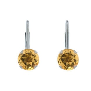 6MM Round Citrine White Gold Leverback Earrings