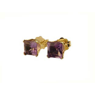 14K Gold Amethyst Earrings, Square Stud Jewelry