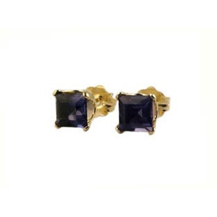 Iolite Earrings, 14K Gold Square Stud Jewelry