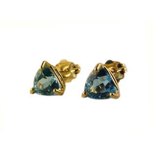 Blue Topaz Trillion Earrings, 14K Gold Jewelry