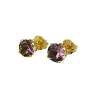 Amethyst Gem Stone Earrings, 18K Gold Studs